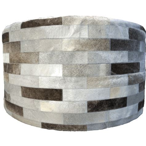 Gray Round Cowhide Ottoman   36 Inch