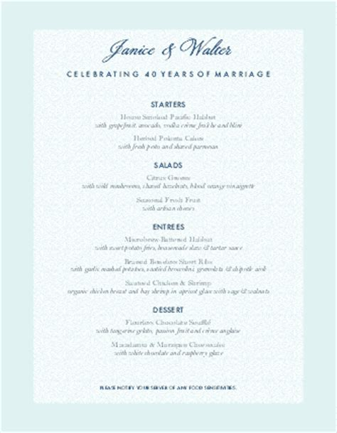 anniversary menu design templates  musthavemenus