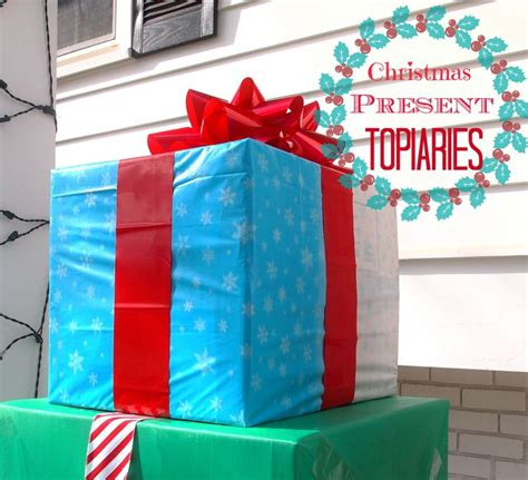 how to fix christmas lawn ornaments how to make an outdoor present topiary tablecloths outdoor and plastic