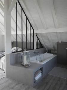 salle bains verriere atelier sous combles lambris bois With salle de bain sous combles
