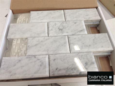 italian marble carrara bianco polished 3x6 quot beveled marble