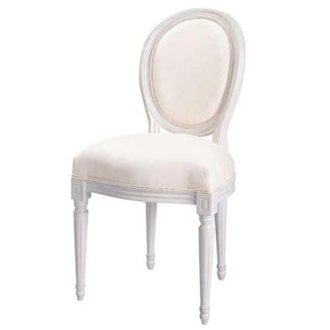 chaise blanc d ivoire chaise médaillon en coton ivoire et bois blanc louis maisons du monde