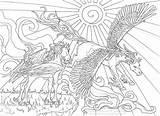 Coloring Coloriage Licornes Dessin Licorne Ciel Arc Impressionnant sketch template