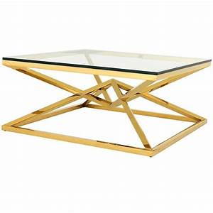 equis coffee table in gold finish and clear glass for sale With clear and gold coffee table