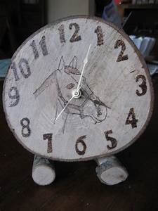 Wood, Burned, Horse, Clock, Maple