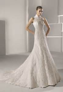 high neck wedding dresses high neck lace mermaid wedding dress onewed