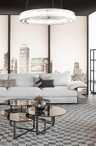 Smooth Shades Of Gray And Black  Fendi Casa Hampton Sofa