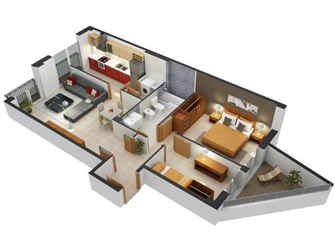 2 Bedroom Small Apartment Design by 20 Awesome 3d Apartment Plans With Two Bedrooms Part 2