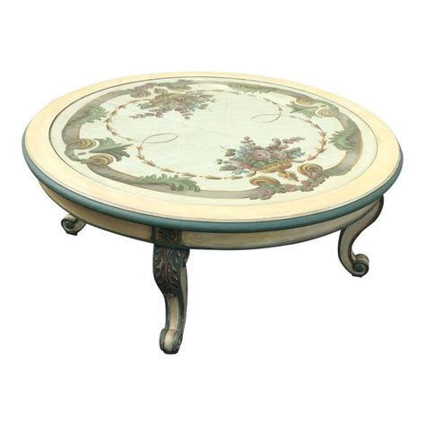I also selected the table in the oyster color to better highlight the painted patina and not appear so stark white. French Country Paint Decorated Coffee Table With Bevelled Glass Insert | French country coffee ...