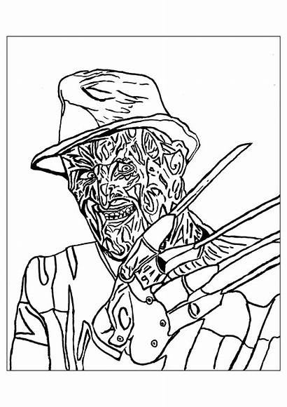Coloring Pages Halloween Creepy Adults Krueger Printable
