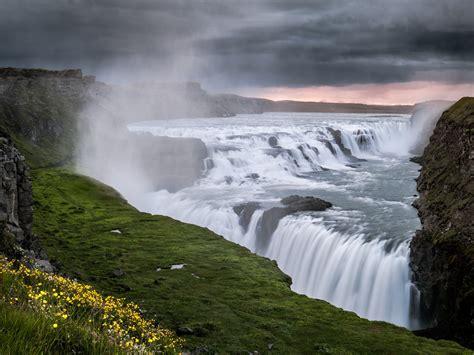 Gullfoss Waterfall Backgrounds by Gullfoss Iceland Hvitau River Waterfall Wallpaper