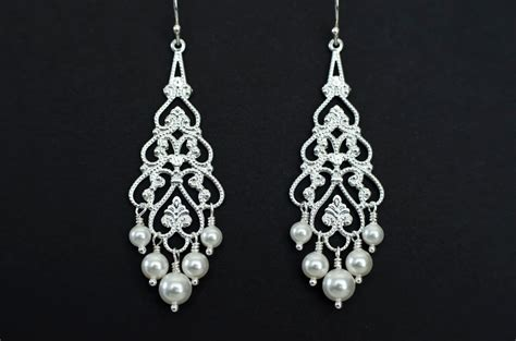 bridal chandelier earrings pearl chandelier earrings