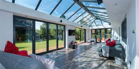 large grey orangery   sets  aluminium bi folding