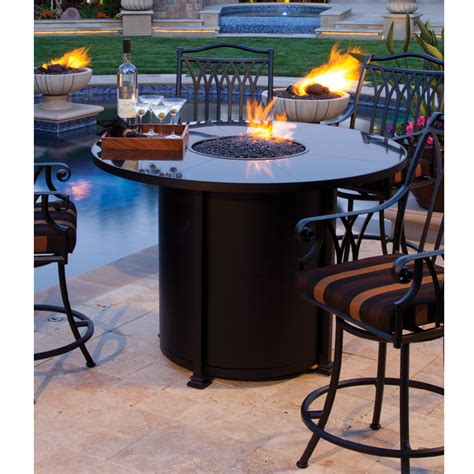bar height patio table with fire pit ow lee counter height fire pit table with swivel stools