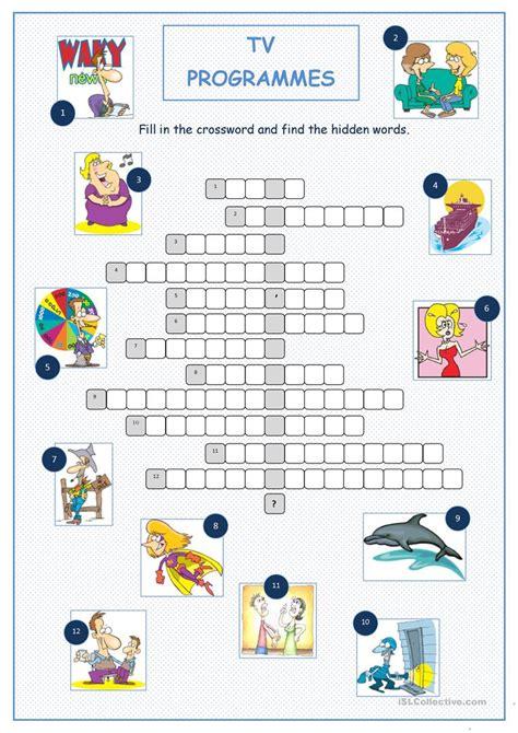 tv programmes crossword puzzle worksheet  esl
