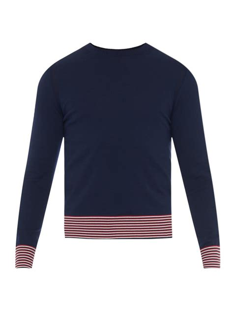 moncler sweater moncler contrast striped cotton knit sweater in blue for