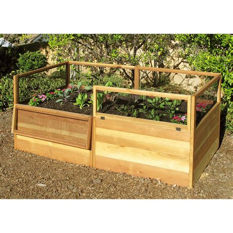 small inspiring wood raised bed vegetable garden along low