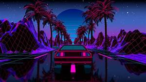 Wallpaper, Outrun, Car, Vehicle, Transport, Palm, Trees
