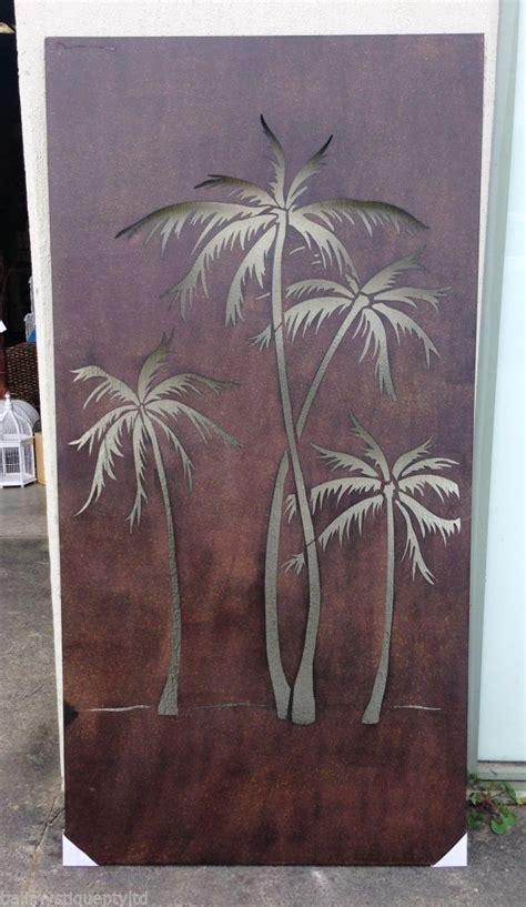 steel metal rust design tropicana palm tree wall hanging