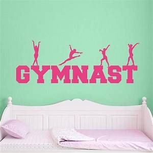 Gymnast word art wall decal wall decal world for Gymnastics wall decals