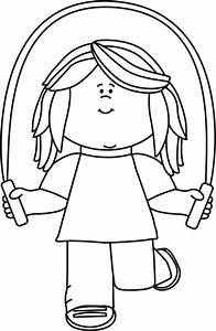 Black and White Girl Jumping Rope Clip Art - Black and ...