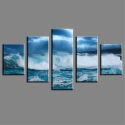5 Pcs Home Decor Wall Painting Art Large Sea Wave Cheap Wall Frameless Wall P