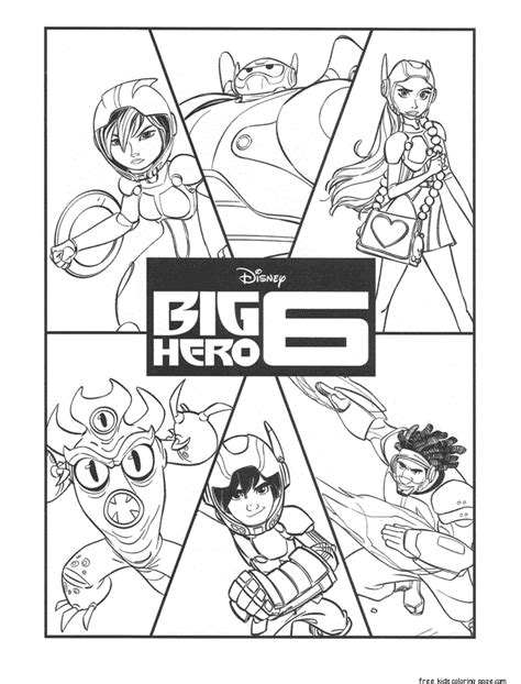 print  big hero  characters coloring pagesfree