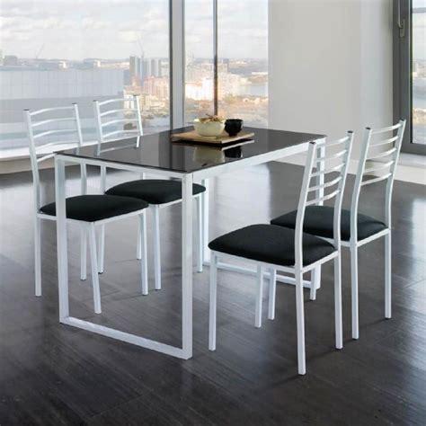 table de cuisine en verre ensemble de noa table de cuisine verre 4 chaises noir