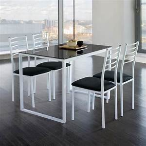 ensemble de noa table de cuisine verre 4 chaises noir With table en verre cuisine