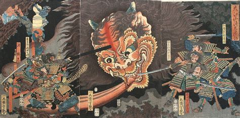 pictures  fighting demons ukiyoe japanese tattoo