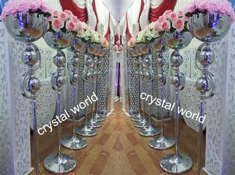 tall sliver metal flower stand  wedding floor stand