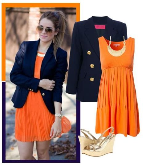 Navy Blue Blazers Outfits Combination Ideas | Navy blue blazer Orange dress and Blue blazers