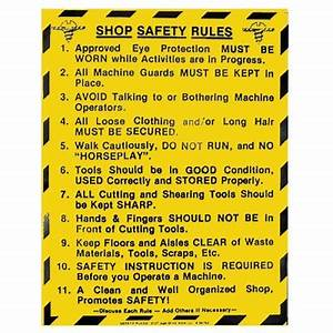 "Shop Safety Rules - General Shop - 17-1/2"" x 22"""