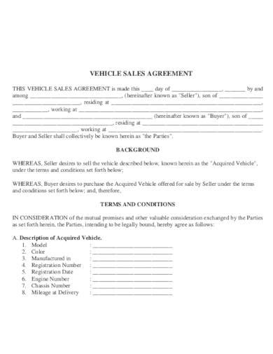 car sale agreement templates   word pages