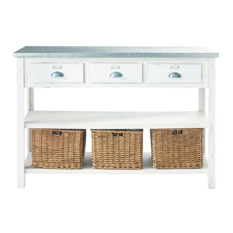 console table with baskets white console table with 3 baskets sorgues maisons du monde