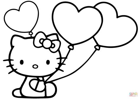 kitty  heart balloons coloring page
