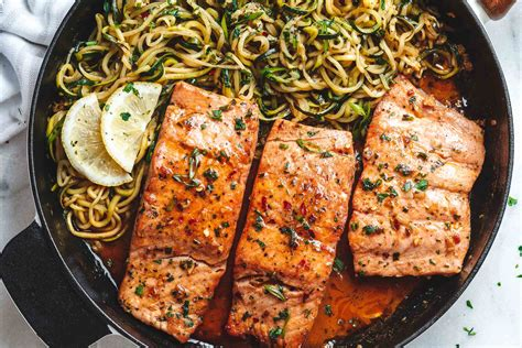 valentines day ideas lemon garlic butter salmon with zucchini noodles recipe