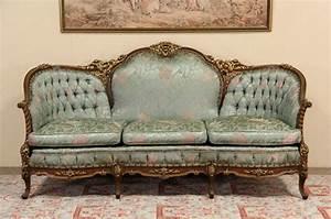 Sold, -, French, Style, Carved, 1940, U0026, 39, S, Vintage, Sofa, Original