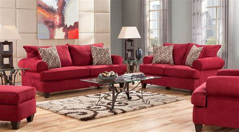 red living room sets fabric microfiber  pieces