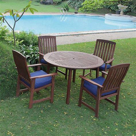 delahey 5 wood patio dining set light finish seats 4