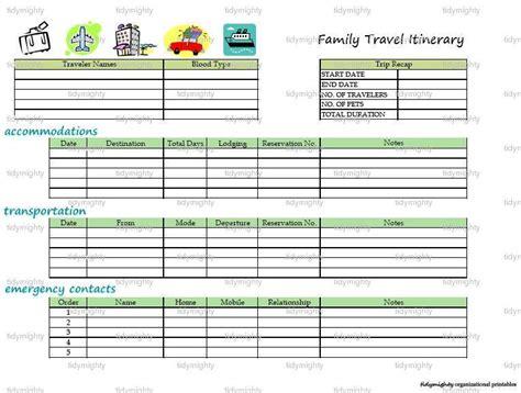 family travel itinerary organizer printable