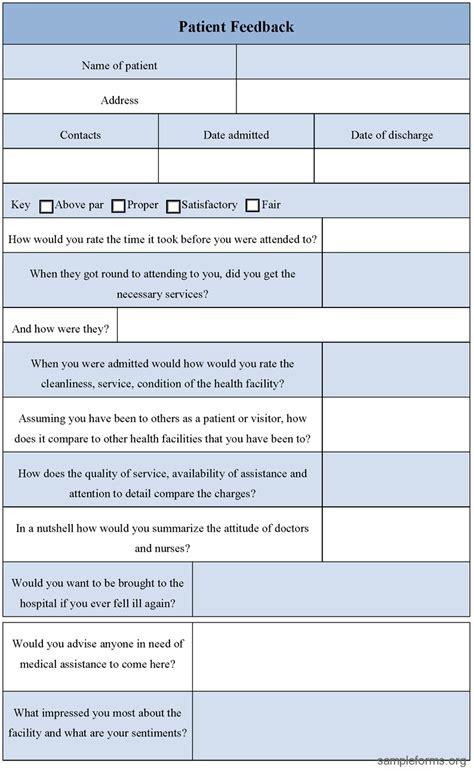 18018 patient feedback form feedback patient feedback form
