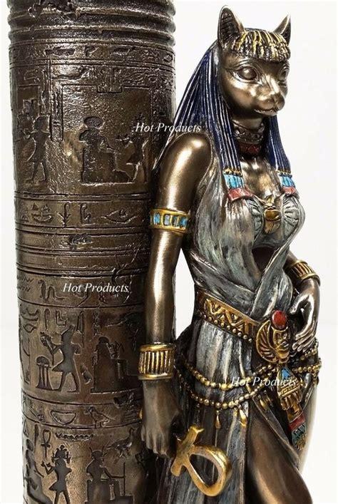 Egyptian Cat Goddess Bastet Candle Holder Statue Sculpture