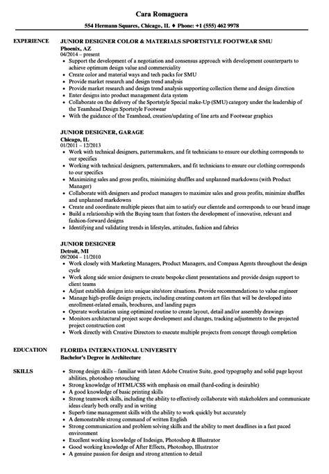 junior designer resume samples velvet jobs