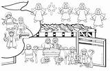 Coloring Christmas Crib Pages Printable Easy Children Justcolor sketch template