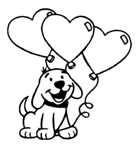 mewarnai gambar anak anjing dan balon untuk paud dan tk