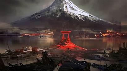 Fuji Japan Mount Digital Torii Drawing Mountain