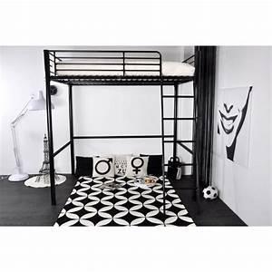 Lit Mezzanine 140x190 : rock lit mezzanine 140x190cm noir achat vente lits ~ Melissatoandfro.com Idées de Décoration
