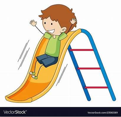 Slide Playing Boy Doodle Clipart Vector Slid