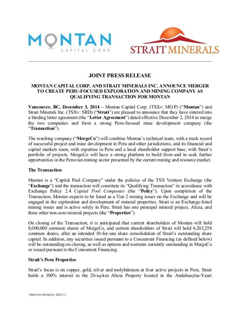 Company Merger Letter To Customers Template by News Release Montan Capital Corp And Strait Minerals Inc